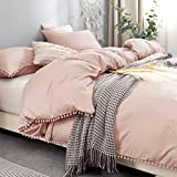 Bowavat Pom Pom Fringe Duvet Cover King Size,100% Washed Microfiber 3 PiecesPink Mocha Duvet Cover Set, Soft and Breathable with Zipper Closure and Corner Ties (King, Pink Mocha)