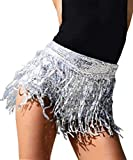Yollmart Women's Sequins Tassel Skirts Shorts Booty Dance Festival Bottoms-Silver-M