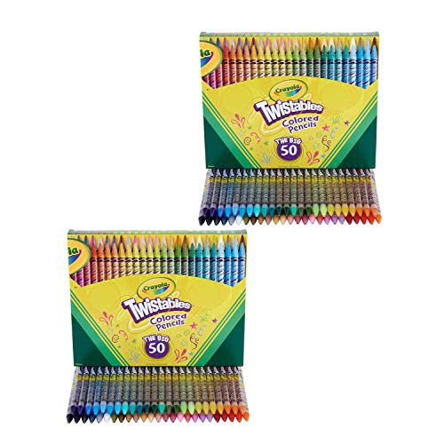 Crayola Twistables Colored Pencils, Great for Coloring Books, 50 Count, Gift - 2 Pack