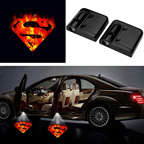 3D Fire Superman Ghost Shadow Emblems Wireless Door Sensor Lights (2pcs), No DrillingLed Laser Door Shadow Light Welcome Projector Lamps Fits Ford, Audi, VW, Dodge, Toyota, Honda (Superman) …