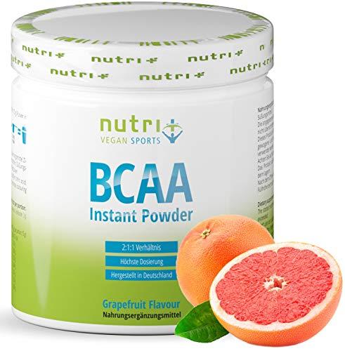 BCAA Pulver Grapefruit - Amino Acid Complex high Dosage - BCAAs Instant Powder Vegan - Amino Acid Powder - 2:1:1 L-Leucine L-Isoleucine L-Valine 300g