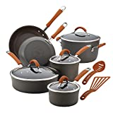 Rachael Ray Cucina Dishwasher Safe Hard Anodized Nonstick Cookware Pots and Pans Set, 12 Piece, Gray with Orange Handles