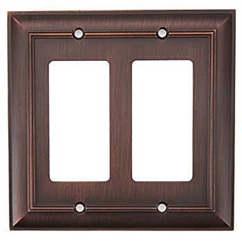 allen + roth Cosgrove 2-gang Double Decorator Outlet or Switch Wall Plate Oil Rubbed Bronze Z1768RR-EORB-N