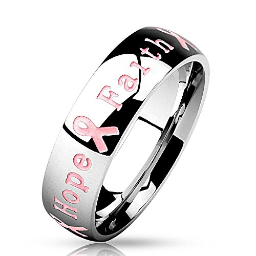 Bungsa 57 (18.1) Ring Gravur - Schmuckring mit graviertem Schriftzug Courage Strength Hope Faith - Brustkrebs Awareness Ring für Damen &...
