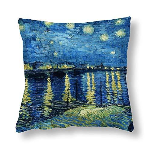 perfecone - Federa per cuscino per divano e auto, motivo 'Home Improvement', in cotone, con doppia notte stellata sopra il Rodano, Vincent Van Gogh, 1 confezione da 45 x 45 cm