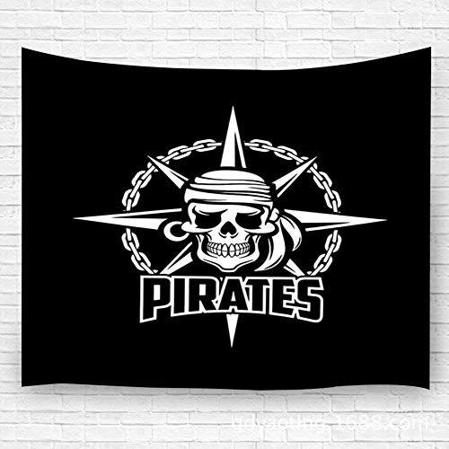 WKLNM wandtapijt muur opknoping voor slaapkamer woonkamer Dorm zwarte piraten vlag van zeeman of kapitein Skeleton schedel met oorbel en Kerchief Bandana opknoping voor slaapkamer woonkamer Dorm 39.4