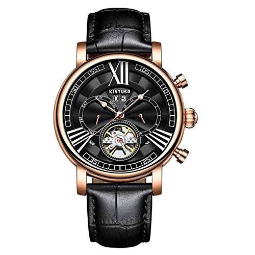 TXGIRWAO Reloj mecánico automático Hombres Calendario perpetuo Relojes Tourbillon Reloj de Pulsera para Hombre Regalo de año Nuevo, Oro Negro