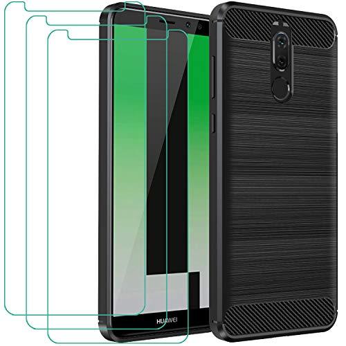 ivoler Funda para Huawei Mate 10 Lite con 3 Unidades Cristal Templado, Fibra de Carbono Carcasa Protectora Antigolpes, Suave TPU Silicona Caso Anti-Choques Case Cover - Negro