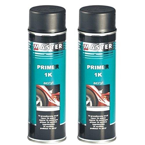 Troton 1K Primer 500ml GRUNDIERUNG Spray ACRYL FÜLLER HAFTGRUND Auto Primer Sprühdose (Schwarz, 2)