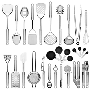 Best Choice Products Set of 29 Stainless Steel Kitchen Cookware Utensil Set w/Spatulas, Measuring Cups, Spoons - Silver