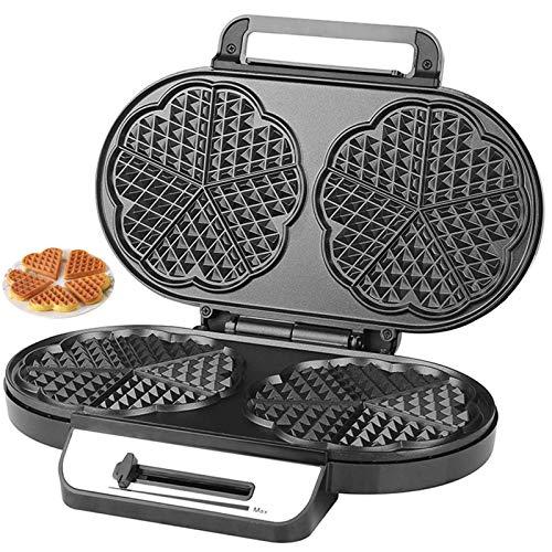 Gofrera Forma Corazón eléctrico Waffle Maker DIY Sandwichera Grill Recubrimiento Antiadherente Control...