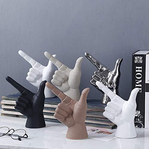 Yener Mode Creatieve Gebaar Vinger model meubels keramiek home ambachten Ornamenten, 14.Hoog helder wit