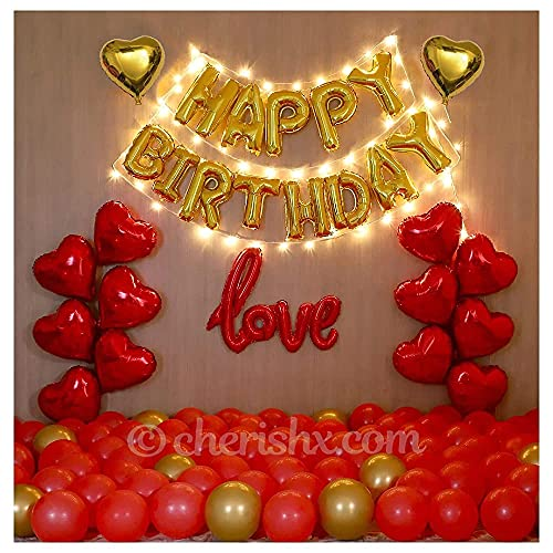 CherishX.com Elegant Happy Birthday Balloons for Decoration Kit - Husband, Wife Birthday Wall Decoration - 57pc Combo - LED Light,...