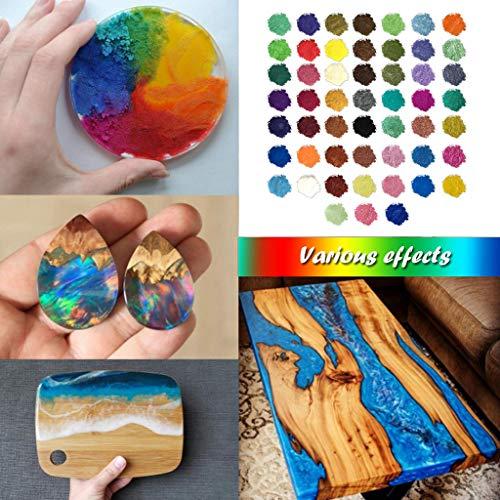 260g(52 farbe x5g)Farbe Metallic,Epoxidharz Farbe Seifenfarbe Set Pigment Mica Pulver Slime Powder für DIY Klebepigmente Badebombenfarben Seifenherstellung Make-up und helle Nailart-Kerzen etc
