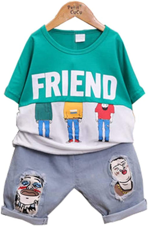 Baby Kleidung, Kids Baby Jungen Outfits Zeichentrickfigur T Shirt Tops+Jeans Set 210 Jahre alt