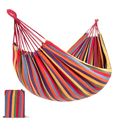 Best Choice Products 2-Person Indoor Outdoor Brazilian-Style Cotton Double Hammock Bed w/Portable Carrying Bag – Rainbow