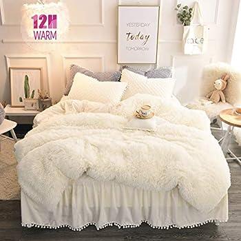 MUKKA Longfur Faux Fur Duvet Cover Set Queen 3 Pieces Shaggy Bedding Set  1 Faux Fur Duvet Cover + 2 Ball Fringe Pillow Shams  Luxury Plush Cream White Zipper Closure