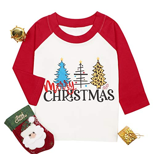 Baby Girls Boys Merry Christmas Shirts Cute Christmas Tree Graphic Print Tee Tops Long Sleeve Raglan T-Shirt Red 100