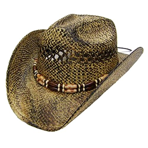 Modestone Unisex Cool Straw Chapeaux Cowboy Light Yellow Black