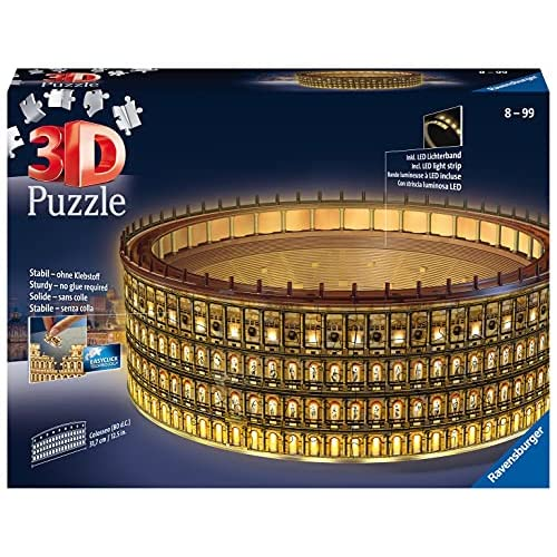 Ravensburger 11148 Colosseo Night Edition 3D Puzzle, 216 Pezzi Multicolore, Età Raccomandata 10+, Dimensioni Finali 32 x 26 x 10 cm