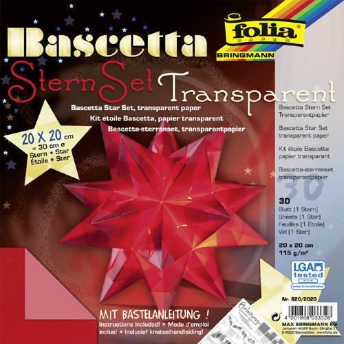 Faltblätter Bascetta Stern Transparent rot, 20x20, - CFO820-2020