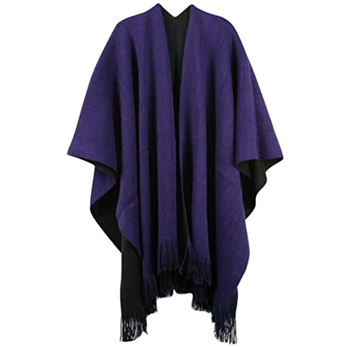 be81bba2e4 VamJump Women V Cut Reversible Tassel Knitted Large Poncho Capes Wrap Shawl