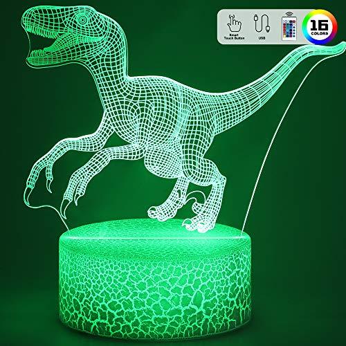 Dinosaurier Nachtlicht Geschenke, 3D Nachtlicht Lampe mit 16 Farbwechsel und Fernbedienung, Geschenke für Jungen ab 3 4 5 6+ Jahre