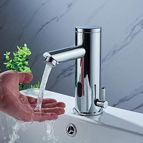 Grifería de baño monomando automático para sensor de célula infrarroja con grifería de lavabo cromado cromado