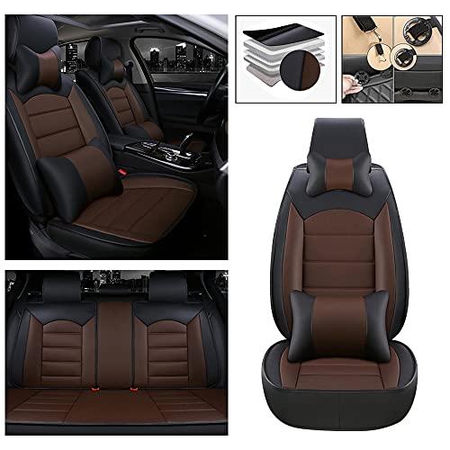 Maibenbao Funda de asiento de coche de lujo para Citroen C2 C3 C4 C5 C6 DS3 DS4 DS5 C4L C-ZERO Tourer cuero 5 asientos asiento coche protector impermeable Airbag compatible negro y café