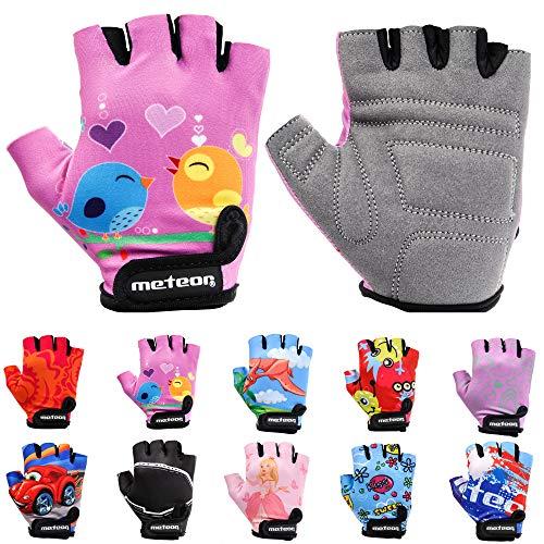 Meteor Unisex Kinder Fahrradhandschuhe Bike - Gel BMX Handschuhe, pink, Gr.-Jr XS/ Handweite- 6-6.5cm