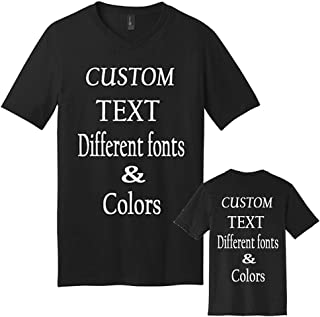 Custom Design Personalized Adult V Neck T- Shirt, Design Your Own T-Shirt, Custom Gifts, Add Text V Neck Shirts