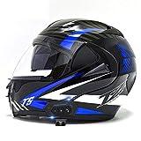 バイククラッシュモジュラーBluetoothヘルメット、ブラック防曇デュアルバイザーモトクロスヘルメットフルフェイスレーシングモーターサイクルヘルメット、成人男性女性向けDOT認定