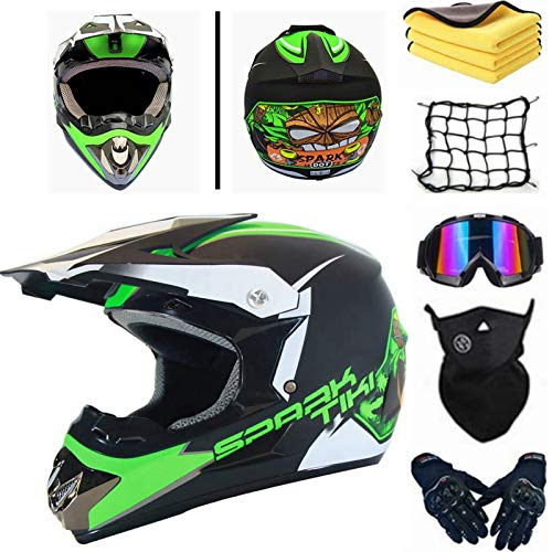 AGVEA casco moto niño,cascos de motocross de moto,enduro,descenso,Full Face para hombre, casco de carreras DOT aprobado,casco motocross infantil (M)