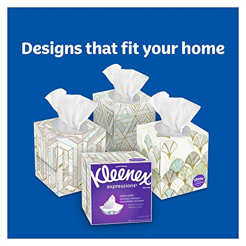 Kleenex Expressions Ultra Sof   t Facial Tissues, 18 Cube Boxes, 65 Tissues per Box (1,170 Tissues Total)