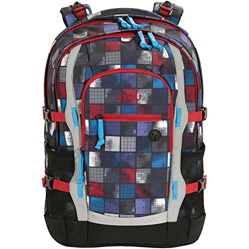 4YOU Basic Schulrucksack Jump 47 cm, Square Red/blue