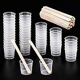 WXJ13 Lot de 50 Tasses Gobelet Plastique Transparent Gradué Échelle 30 ml Avec Lot de 50 En Bois Mélanger Btons pour Mélanger Peinture, Taches, Résine époxy