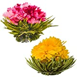 Blooming Tea Flowers - Pomegranate & Pineapple Flowering Teas – Hand-Tied Flowering Tea Balls - Each Tea Blossom Can Be Used Multiple Times (2-Pack)