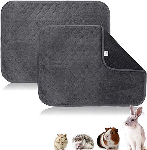YANGWX - Juego de 2 alfombras de limpieza lavables para cobaya, hámsters, conejos, chinchillas – 60 x 45 cm