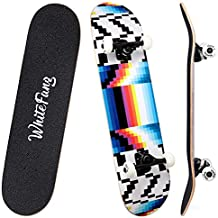 WhiteFang Skateboards 31 Inch Complete Skateboard Double Kick Skate Board 7 Layer Canadian Maple Deck Skateboard for Kids and Beginners (Testing)