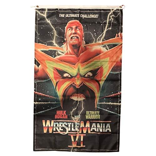WWE WWF Wrestlemania Ultimate Warrior Hulk Hogan Banner Flagge, 90 x 150 cm