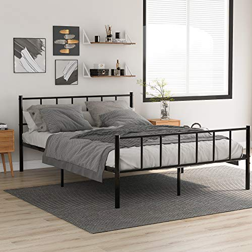 WGYDREAM Double Black Metal Bed Frame 4ft6 Double Solid Bedstead Base Children Bed With Vintage Headboard And Footboard,135 X 190 Cm