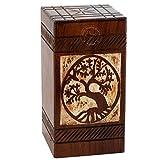 Hind Handicrafts - Urne in legno antico per ceneri umane, per adulti, in palissandro, per ceneri – Urna per sepoltura per colombario, in palissandro