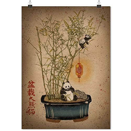 Panda Bamboo Bonsai Chinese Character Visual Artwork, Family Living Room, Office, Art Room, Bedroom, Dormitory, Shop Decoration Room poster for roomart printswall decor for living roomcanvas for paint