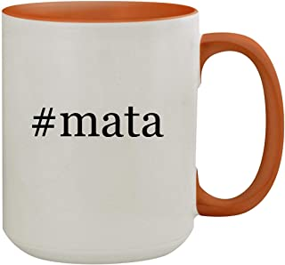 #mata - 15oz Hashtag Colored Inner & Handle Ceramic Coffee Mug, Orange