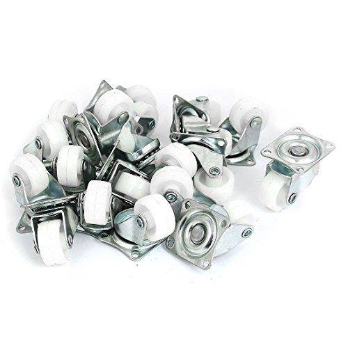 DyniLao Ruedas giratorias de nailon de 1'con placa superior de 360 grados para banco de trabajo de carros de muebles, blanco, paquete de 20
