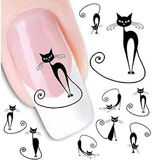 6 PCS Stylish Black Cat Image Adhesive Nail Art Sticker Nail Decoration Charm Decals Nail Nail Polish Art Design Sticker Nail Ornaments for Manicure Pedicure for Women Girls