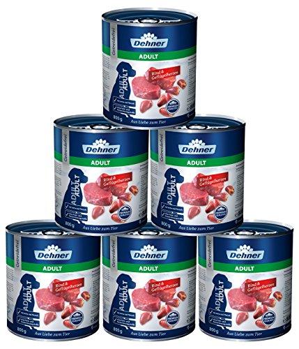 Dehner Premium Hundefutter Adult, Rind und Geflügelherzen, 6 x 800 g (4.8 kg)