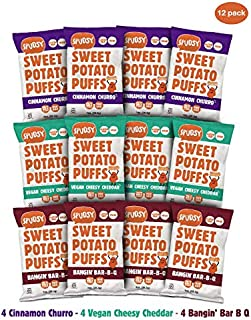 Spudsy Sweet Potato Puffs | 12 Pack | 1 oz Bags | Vegan, Gluten Free, Kosher, Allergen Free, Plant-Based | Made With Upcycled Sweet Potatoes (Variety, 12 Pack)