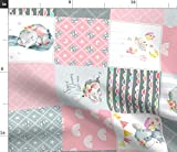Spoonflower Fabric - Pink Elephant Quilt Baby Girl Patchwork Cheater Rotated Animals Printed on Petal Signature Cotton Fabric by The Yard - Sewing Quilting Apparel Crafts Decor
