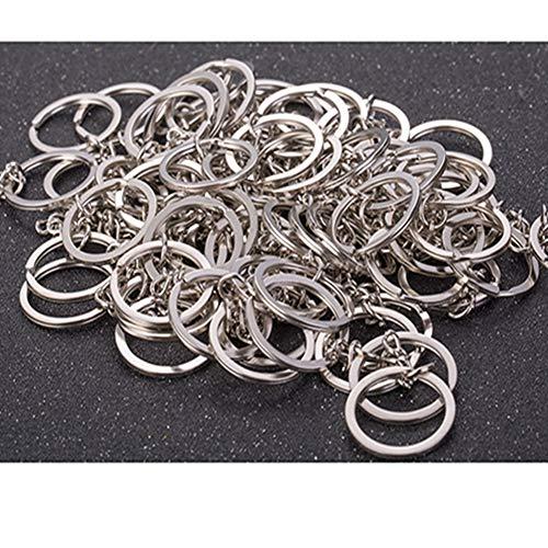 Egurs sleutelhangers met ketting, 100 stuks metalen sleutelhanger met Link Chain & Split ringen voor sleutelhangers DIY Craft Projects
